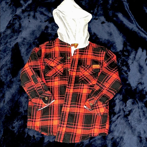 Boys Toddler Button Down Hoodie